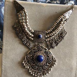 Bib necklace silver & blue